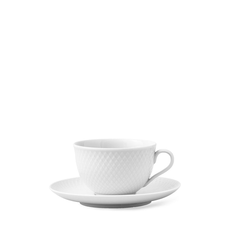 Rhombe Tea Cup with matching Saucer - 24 cl White Porcelain