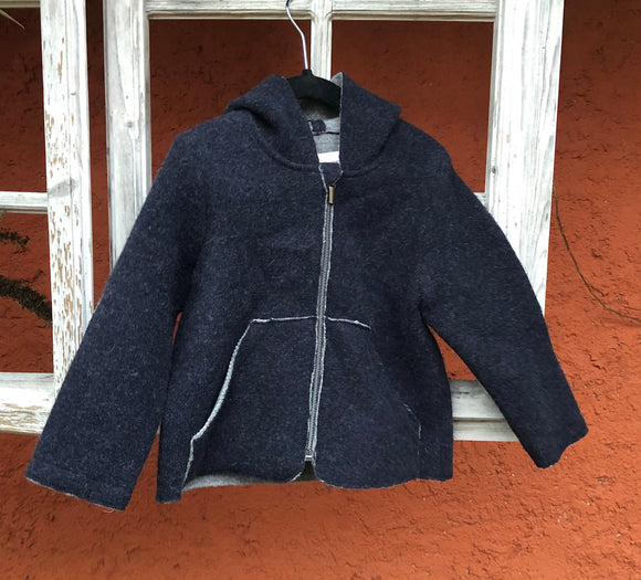 Jacke Michi Lambswool Double Walk dunkelblau