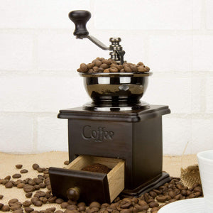 Manual Wooden Coffee Grinder  with Drawer