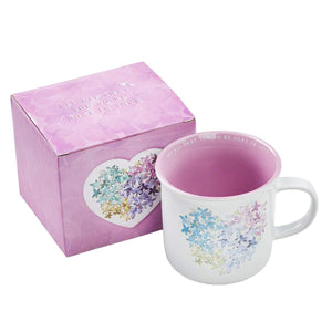 Violet Floral Heart Coffee Mug with Gift Box