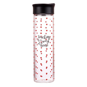 Teaching Is a Work of Heart Glass Water bottle