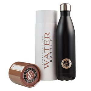 Strong and Courageous Stainless Steel Water Bottle with Gift Box Lid Open