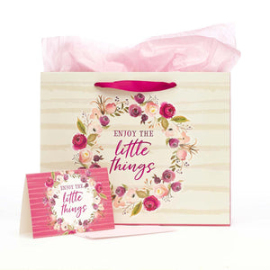 Enjoy the Little Things Gift Bag Set with Card, Envelope and Tissue