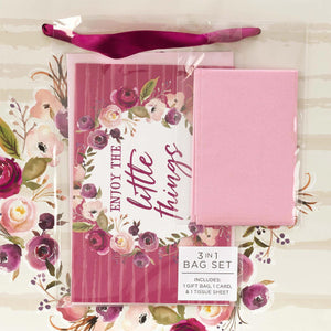 Enjoy the Little Things Gift Bag Set with Card and Tissue