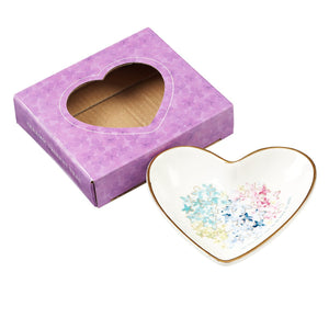 Violet Floral Heart Trinket Dish with Gift Box