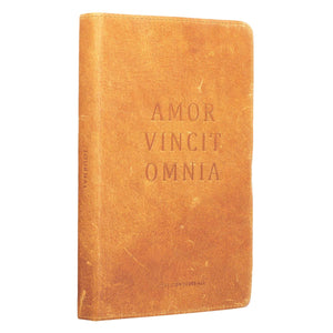 Leather Journal Amor Vincit Omnia Love Conquers All side view