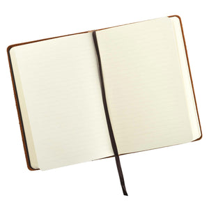 Leather Journal Amor Vincit Omnia Love Conquers All opened lined pages