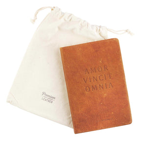Leather Journal Amor Vincit Omnia Love Conquers All with cloth bag