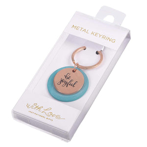Be Joyful Rose Gold Keychain in Acetate Box