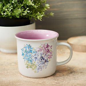 Violet Floral Heart Coffee Mug on Table
