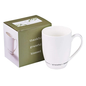 Thankful Grateful Blessed Coffee Mug with Gift Box