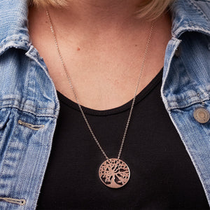 Tree of Life Necklace on Neck