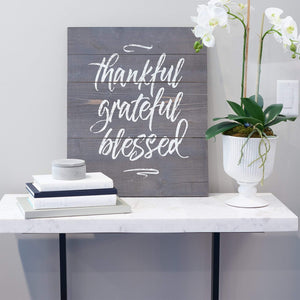 Thankful Grateful Blessed Plank Wall Art Lifestyle