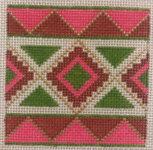 022A Pink, orange, chartreuse Mexican geometric