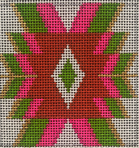 025A Pink, orange, chartreuse Mexican geometric 4
