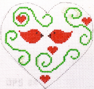 Hummingbird:HB-152 (Heart - Red Birds with stitchguide)
