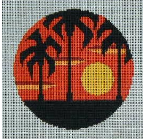 Christine Saunders:CB-16 (Palm Trees Sunset Ornament)
