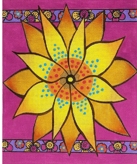 Laurel Burch:LB-149 (Yellow Flower with Purple Borders)