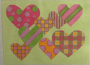 Pattern Hearts - Pink & Green