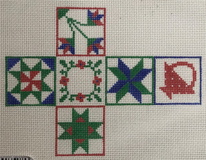 Christmas Ornament – Cube w/ Quilt Patterns #1 – red, blue & green