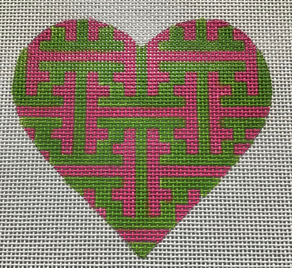 Mini Heart – Chinoiserie Lattice – green & pink