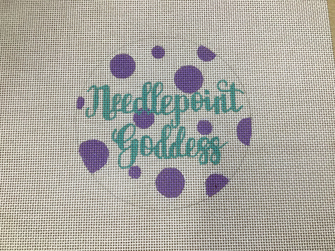 Needlepoint Goddess Polka Dot Round
