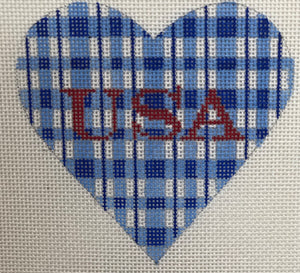 Mini Heart – Patriotic Blue & White Plaid w/ USA in Sparkly Red