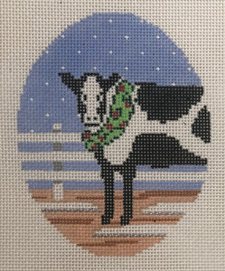 O323 Cow with Wreath Oval