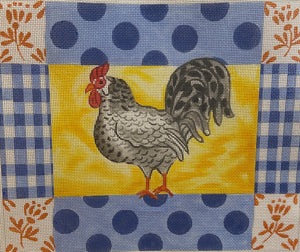 Kelly Rightsell - Rooster with Gingham, Dots and Floral