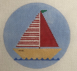 O109 Red Sailboat Ornament