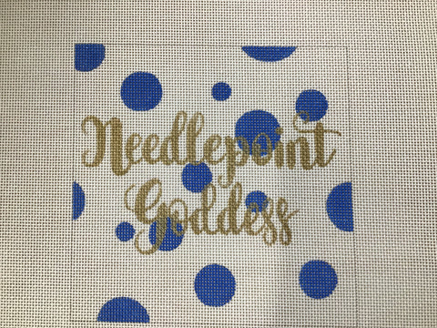 Needlepoint Goddess Polka Dot Square