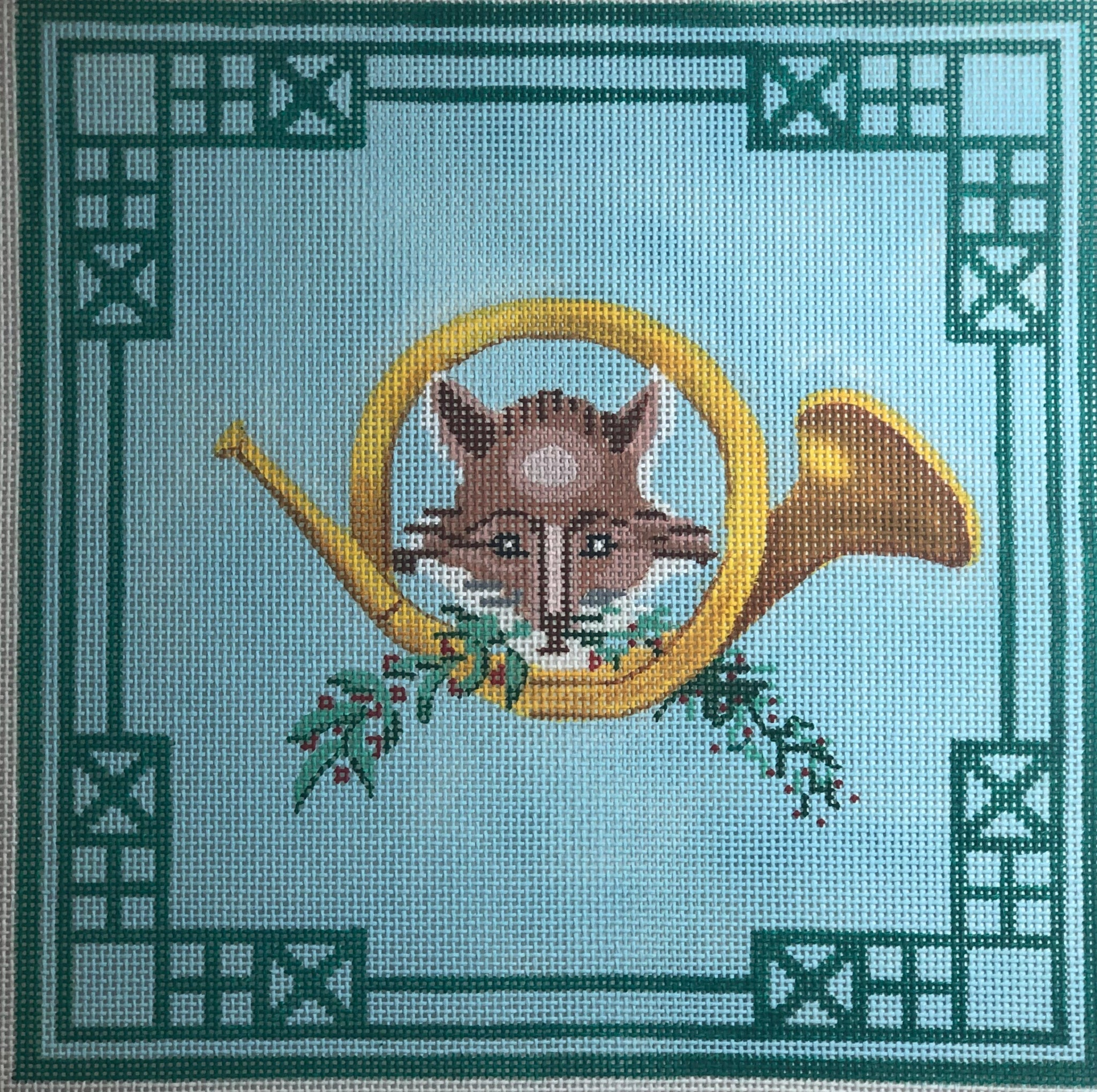 Fox & Hunting Horn w/ Greenery & Chinoiserie Border