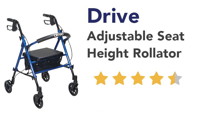 Drive Adjustable Seat Height Rollator. 5 star quality at a low price!