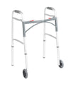 "Drive Deluxe Two- Button Folding Walker with 5"" Wheels"