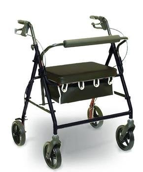Invacare Heavy Duty Rollator with Loop Brakes (Burgundy)-Black