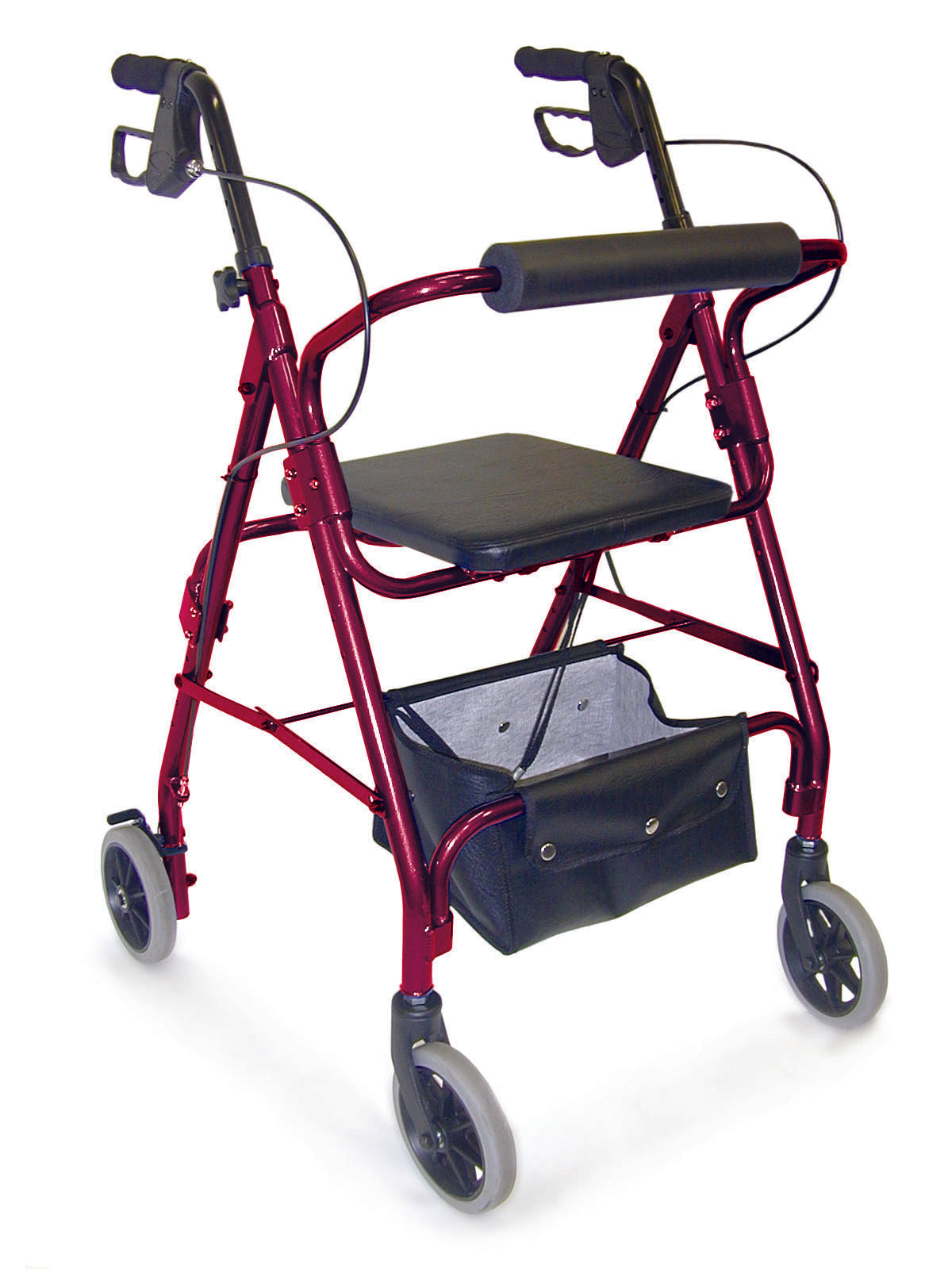 Mabis Ultra Lightweight Adjustable Seat Hemi Rollator-Burgundy