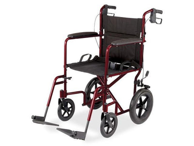 "Aluminum Transport Wheelchair w/ 12"" Wheels-Blue"