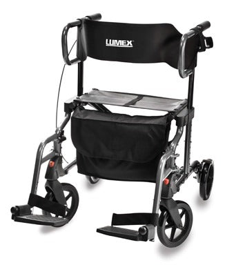 Lumex HybridLX Rollator/Transport Chair-Titanium