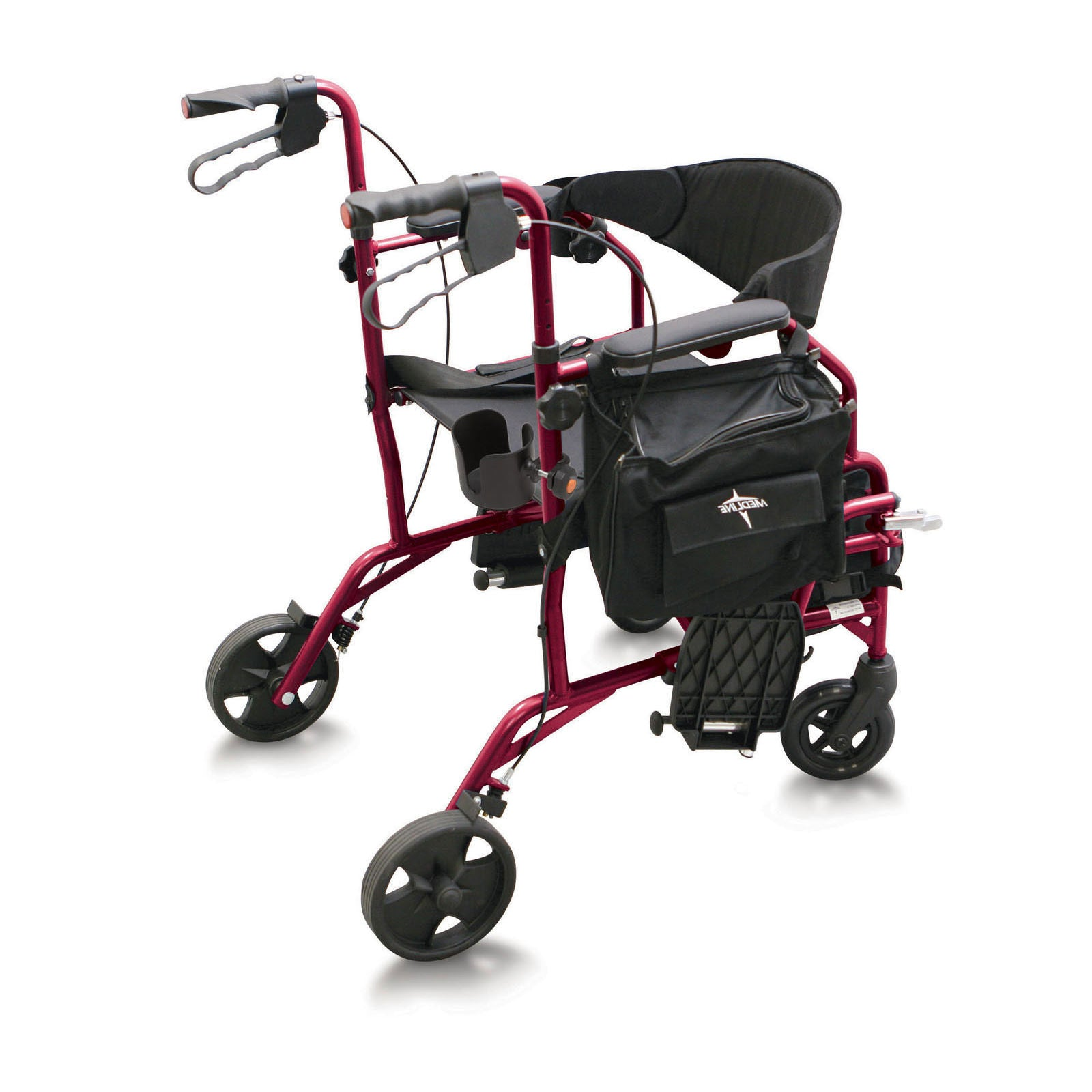Medline Excel Translator Rollator/Transport Chair - Red