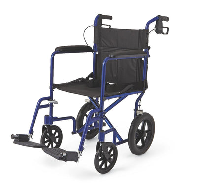 "Aluminum Transport Wheelchair w/ 12"" Wheels"