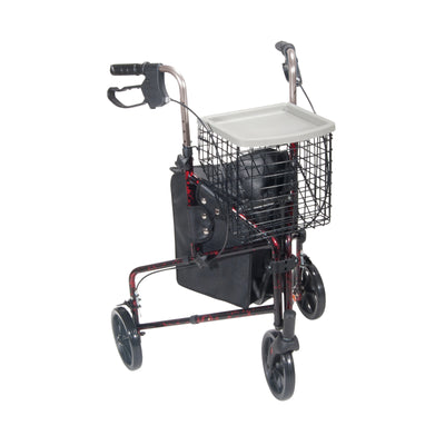 Drive Deluxe 3 Wheel Aluminum Rollator-Red Flame