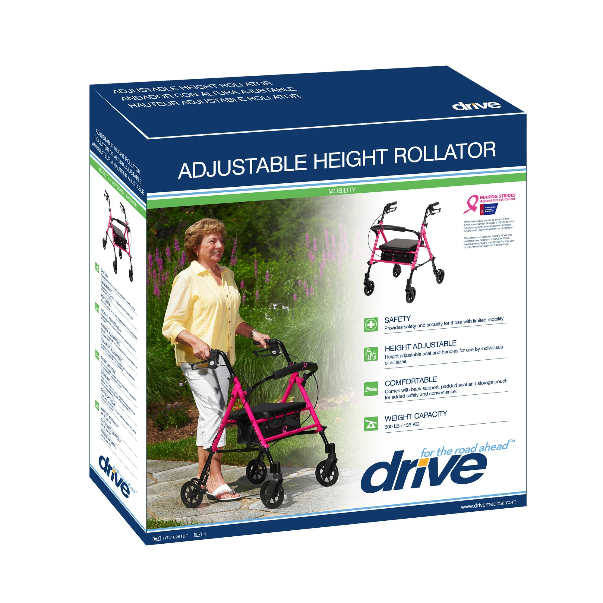Pleasant Drive Adjustable Seat Height Rollator Bralicious Painted Fabric Chair Ideas Braliciousco