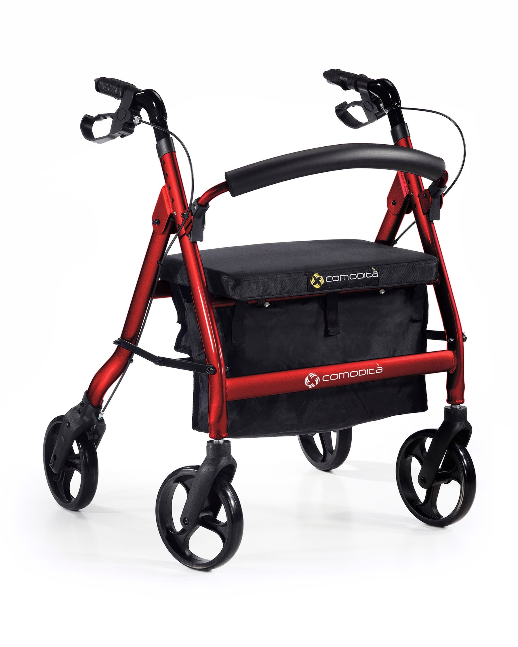 Comodita Spazio Extra Wide Heavy­ Duty Rolling Walker - Red