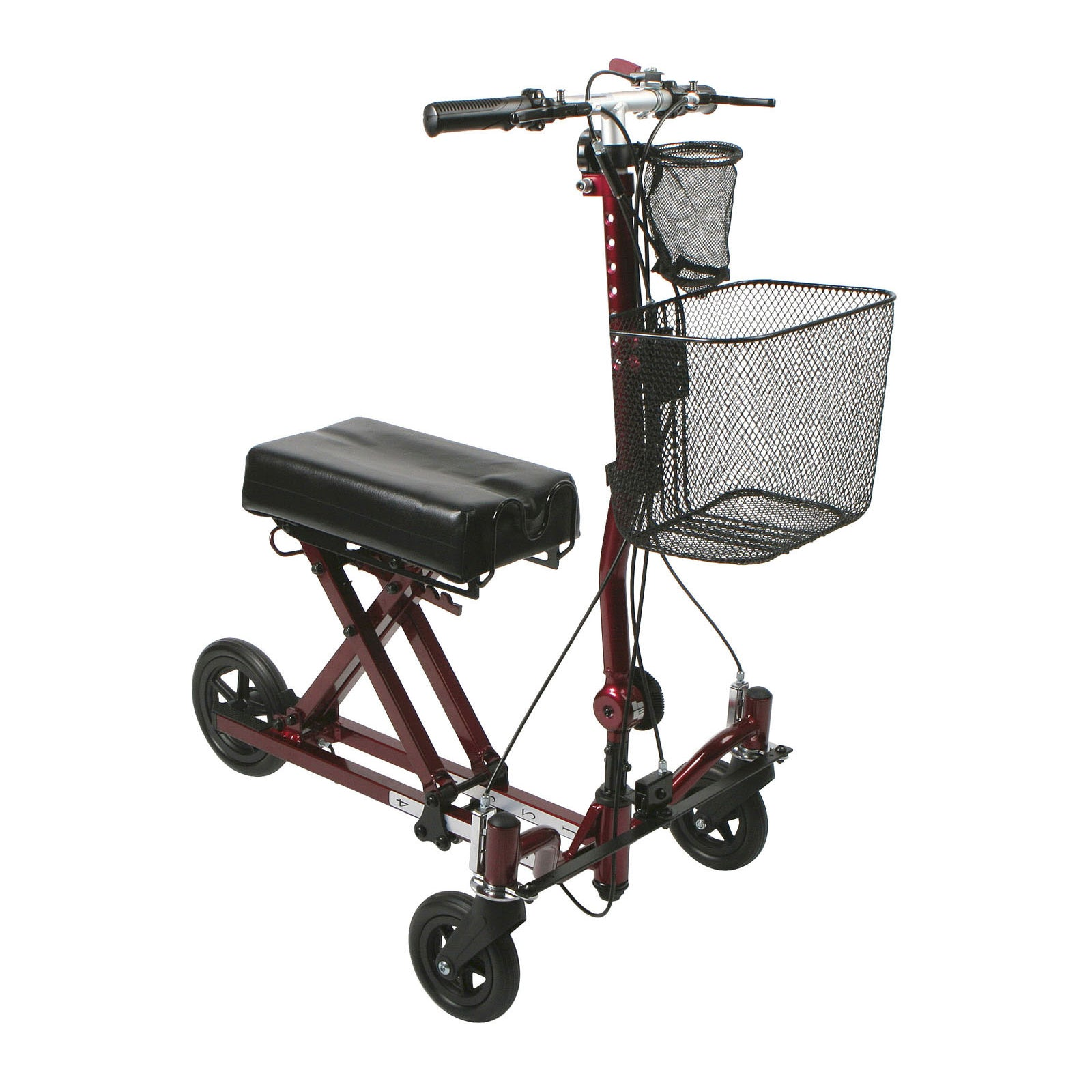 Medline 2nd Generation Weil 3-Wheel Knee Walker-Burgundy