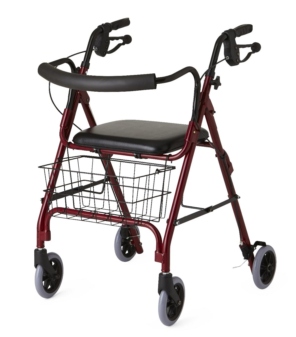 Medline Deluxe Rollator with Curved Back-Black