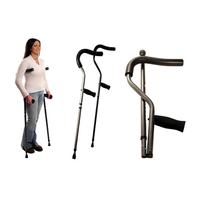 Millennial In-Motion Pro Crutches - In-use & Folded
