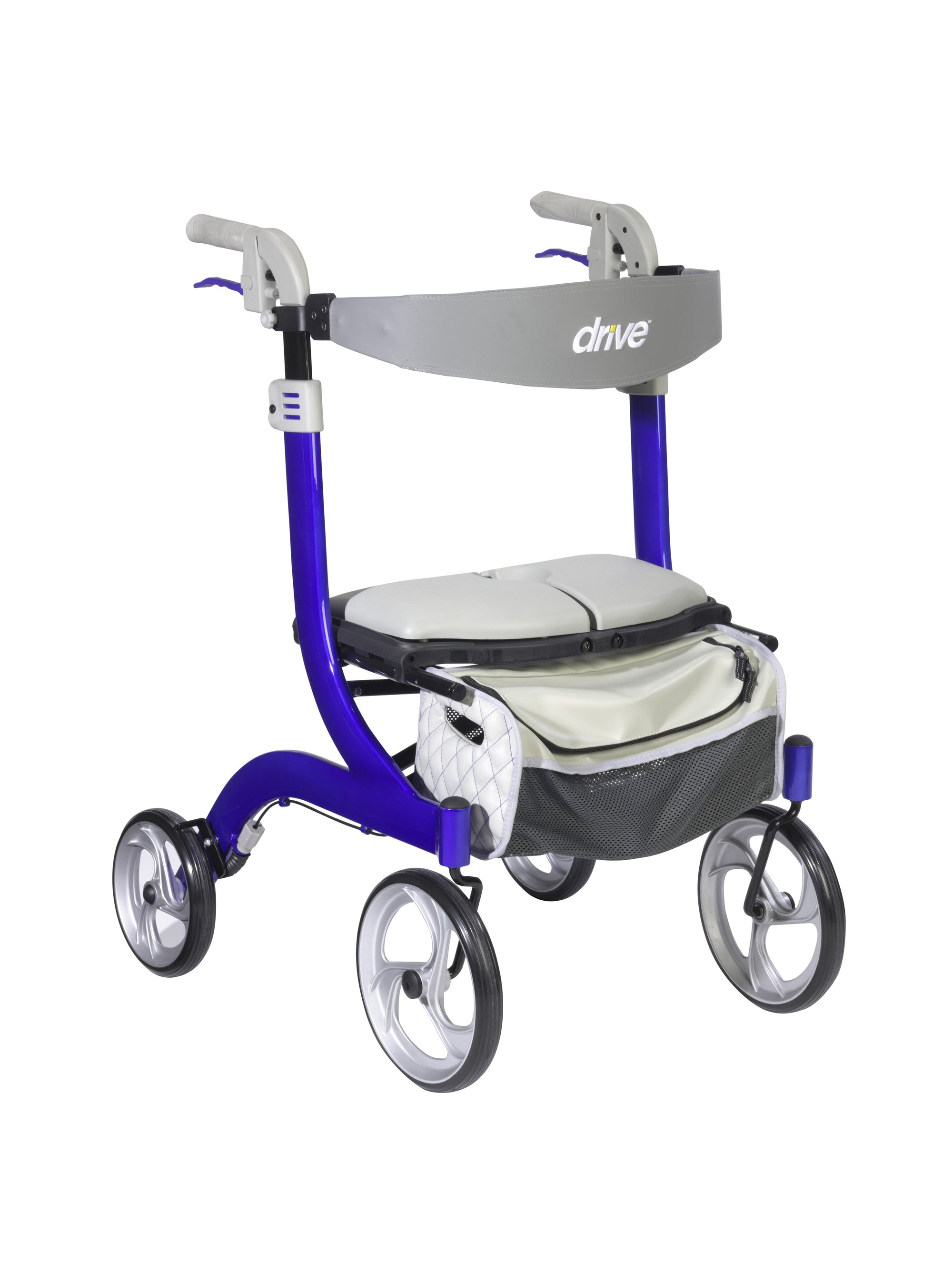Drive Medical Nitro DLX Rollator, Firm Foam Seat-Blue