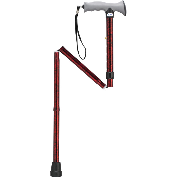 Aluminum Folding Canes with Gel Grip, Height Adjustable-Black
