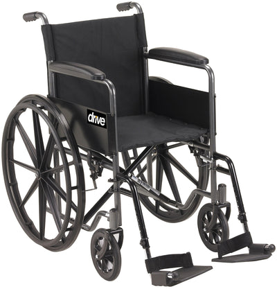 "Drive 18"" Sport Wheelchair with Fixed Armrests-Swing Away Footrests"