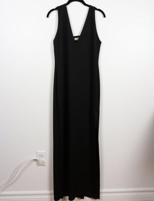 Asymmetrical maxi dress ~ Black stretch crepe - auslästudio
